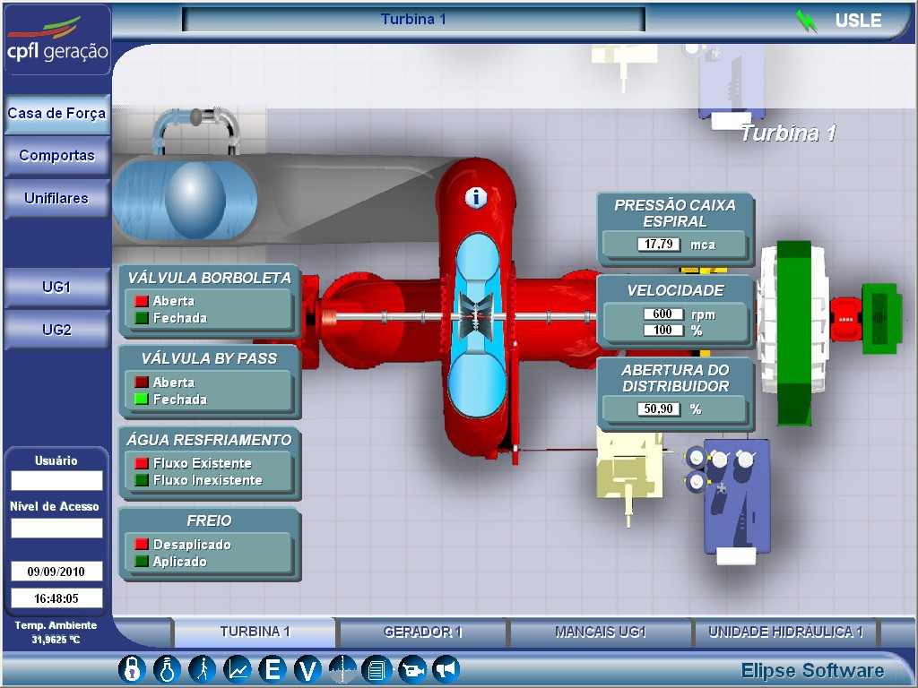Figure 5. Turbine control screen
