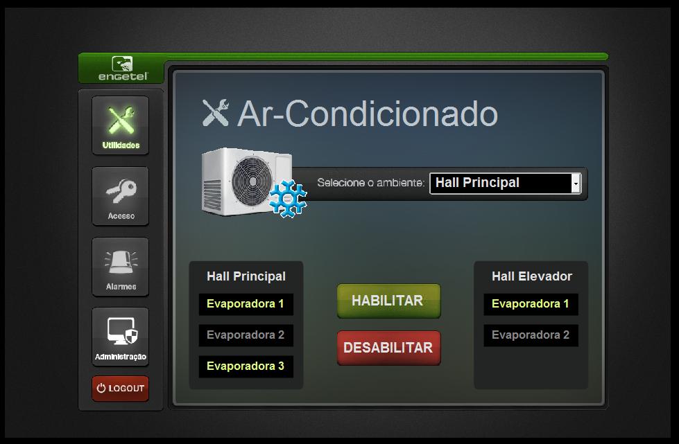 Controle do ar condicionado localizado no hall principal do prédio