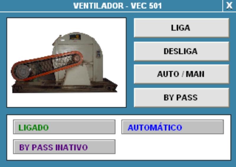 Figura 2. Tela de comando sobre um dos ventiladores