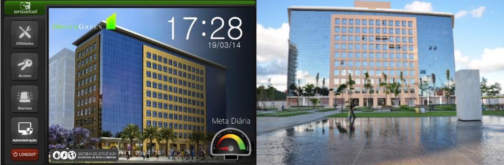 Tela inicial da aplicação reproduzindo a imagem do Condomínio Office Green à direita