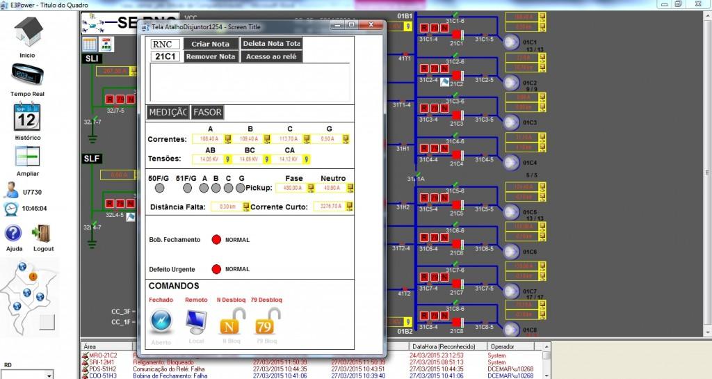 Tela exibindo os comandos mais frequentes que podem ser efetuados sobre o religador 21C1