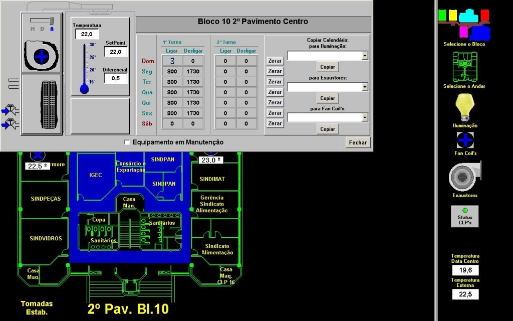 Controle da temperatura no 2º pavimento centro do bloco 10
