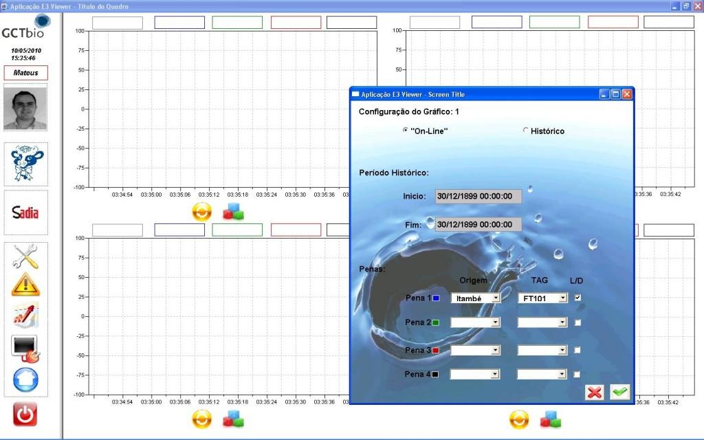 Tela de configuração e visualização de gráficos