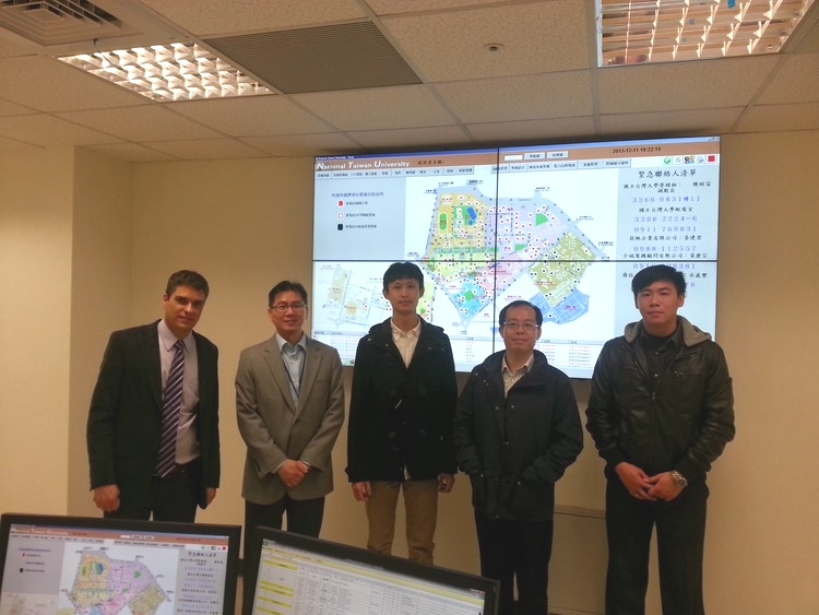 Salvador and Liu in the Operation Center of 126 substations of NTU Power System, in Taiwan