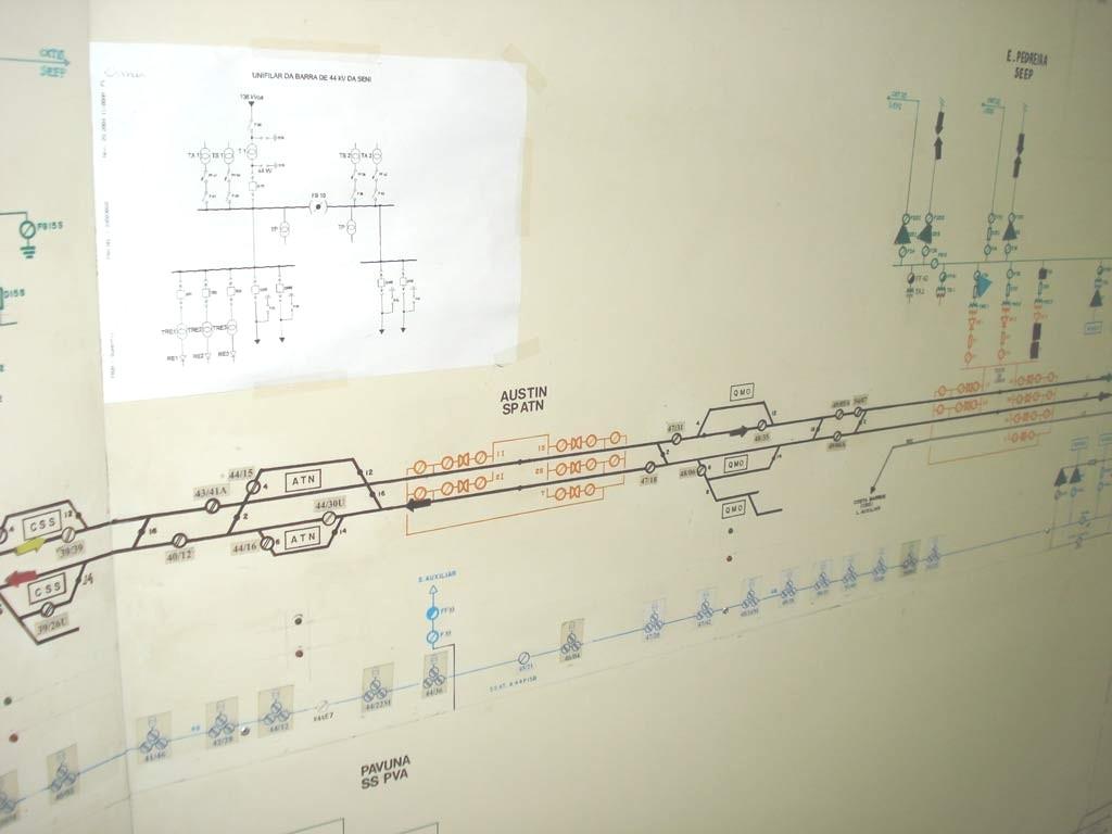Quadro ferromagnético servia de base para monitorar o sistema elétrico da linha férrea