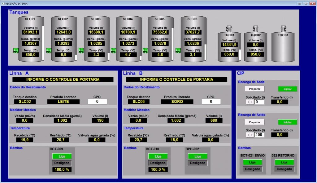 Tela de controle na recepção da fábrica