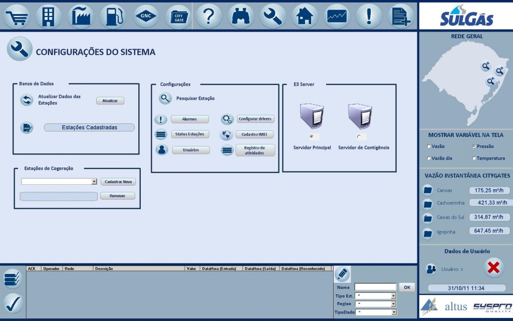 System's set up screen