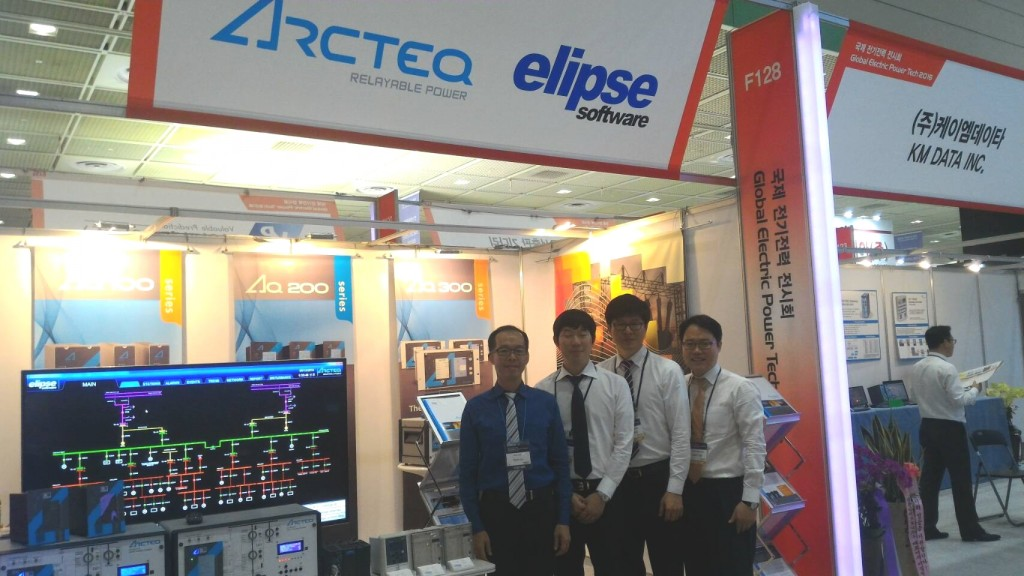 Evan Liu, Elipse Software Taiwan's manager, with Arcteq Korea's engineers and president, Mr. Park, Mr. Yoo, and Mr. SM Shin