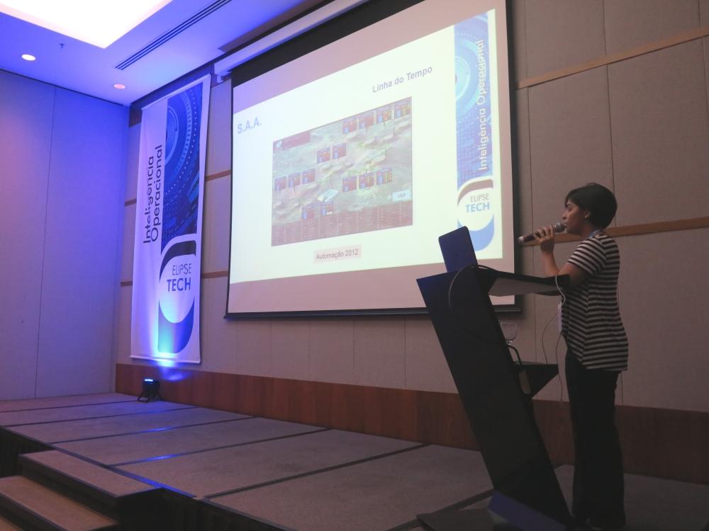 Karen Pereira descreveu a evolução dos sistemas de automação utilizados pela Águas Guariroba ao longo dos anos