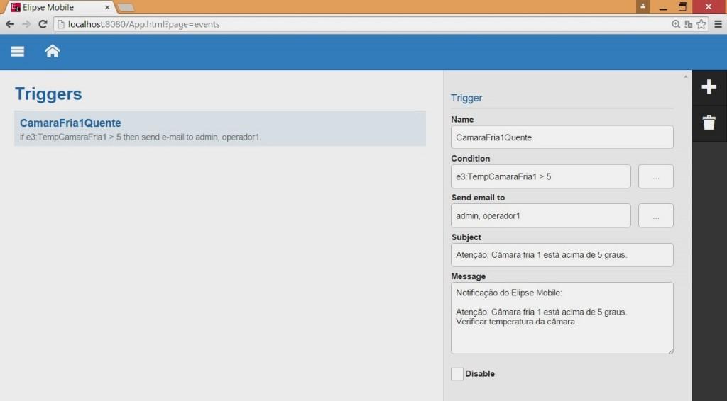 Tela do Elipse Mobile onde é possível configurar uma ou mais condições de alerta para o envio de e-mails aos usuários selecionados